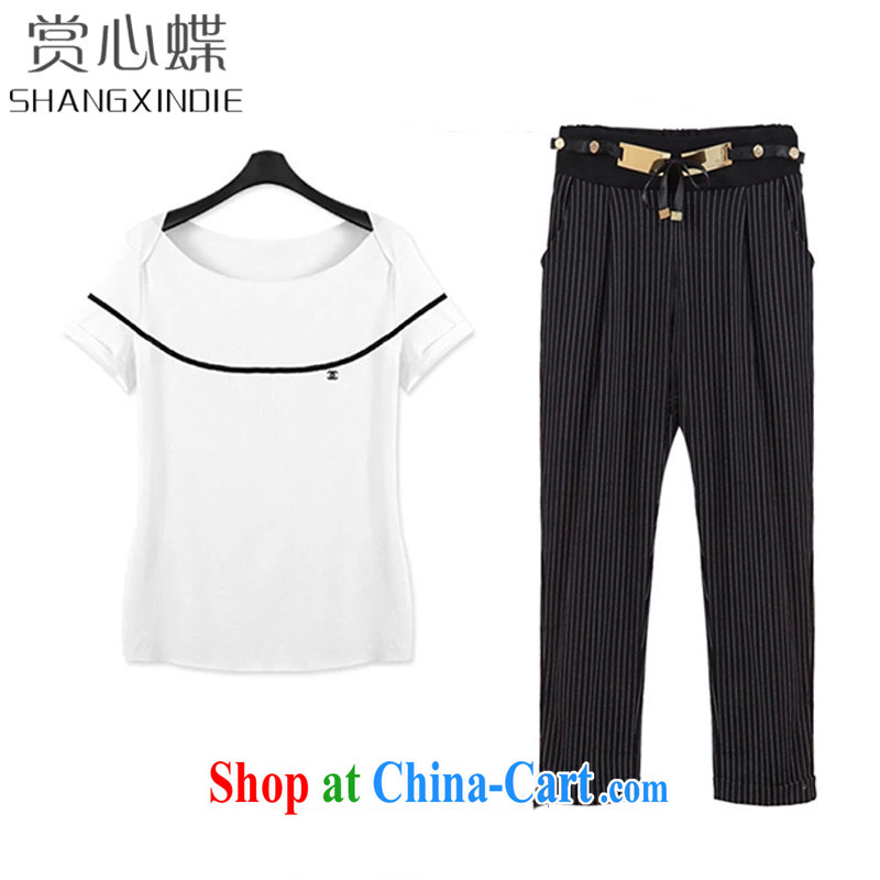 The butterfly 2015 larger female summer new thick mm video thin spell color T shirt + stripes, 7 pants Kit 5045 white 4XL