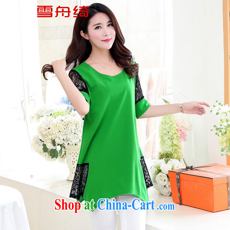 Snow Storm, 2015 thick sister summer new 200 jack on the MM is indeed increasing, female short-sleeved, long T shirts dresses A 8888 green XXXXXL