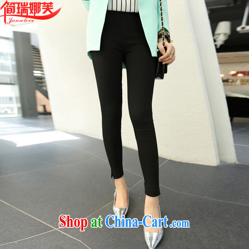 In short, the possible spring 2015 summer and autumn, the Korean version of the greater code spring high-waist castor pencil pants, wearing pants solid 9 pants women 8108 black 3 XL