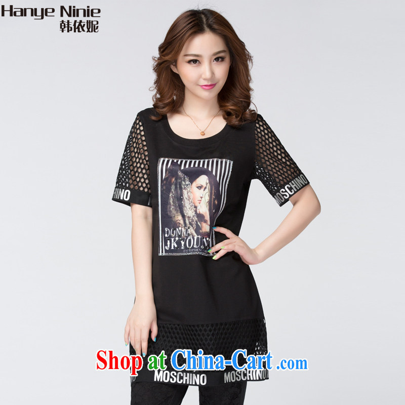 South Korea according to Connie 2015 the code female new lace graphics thin short-sleeved dresses summer 1143 black XXXXL