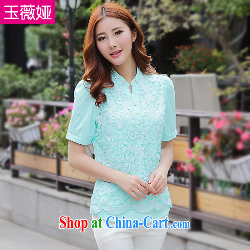 Yu Wei SIA 2015 summer new, larger female snow woven shirts lace short-sleeved hook take solid T-shirt T-shirt woman Y 1196 blue 3 XL _145 - 165 _ jack