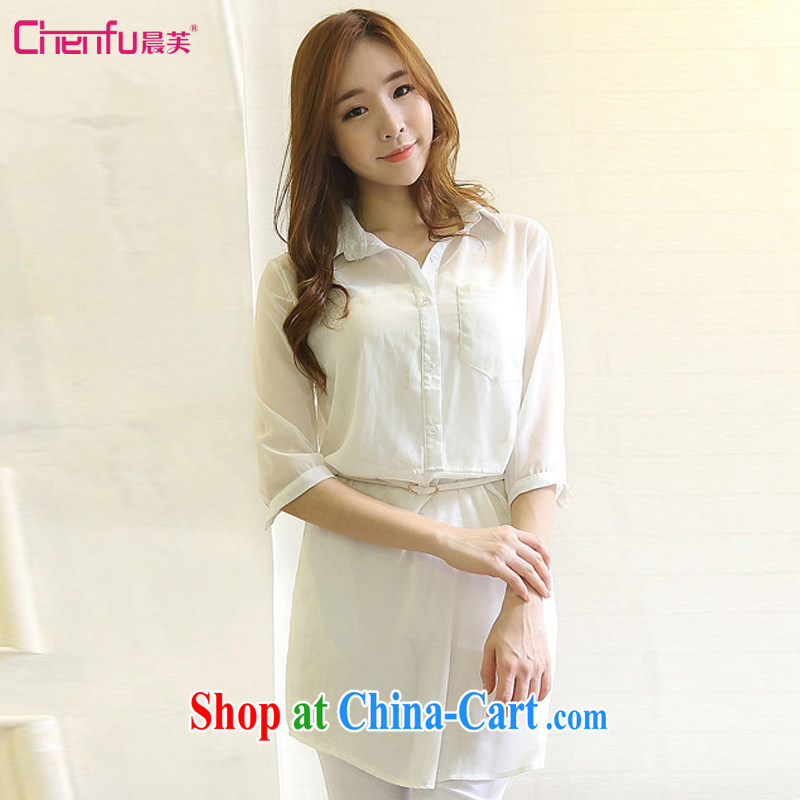 morning concluded 2015 Korean summer New Long shirt girls and indeed increase code snow woven shirts, cuff women mm thick solid-colored lapel sunscreen snow woven shirts white L