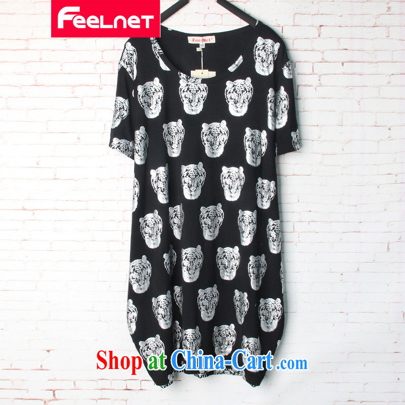 The feelnet code female Korean version 2015 summer new thick mm loose stamp duty, long, short-sleeved shirt T 1505 Silver Stamp Duty 6 XL code/recommendations 80 - 130 kg
