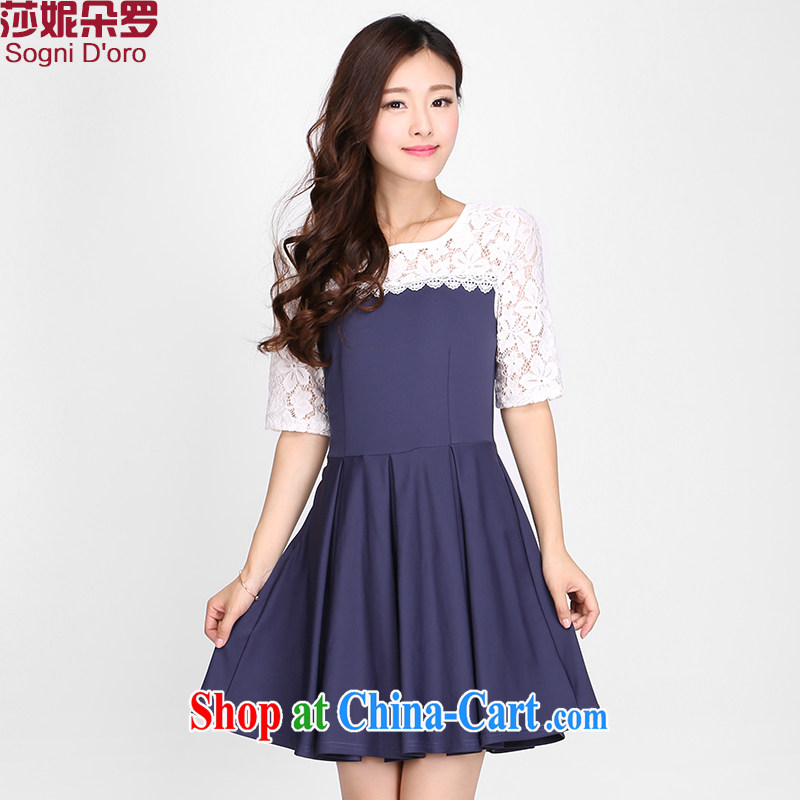 Laurie flower, the Code women summer dresses Korean version the FAT and FAT mm lace short sleeve graphics thin skirts 2116 cape blue 5 XL