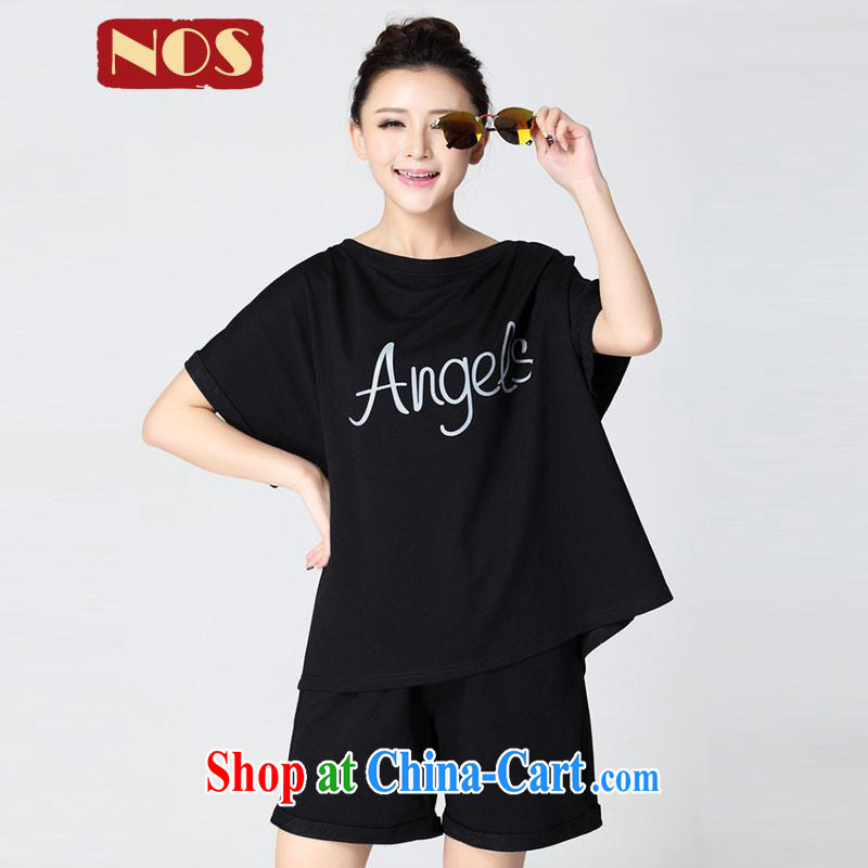 NOS Korean version pure cotton has been the simple ground 100 Leisure package T shirts shorts the Code women 50,121 D Black Large code 6 XL