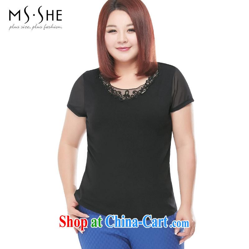 MSSHE XL ladies' short-sleeve T-shirt 2015 new summer stretch, cotton lace stitching T-shirts T-shirt 2703 black 4XL