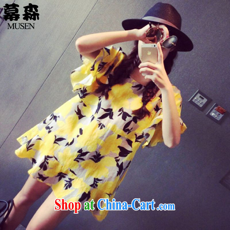 The sum 2015 summer Korean version fresh and large, female thick mm video thin loose doll dress 200 jack can be seen wearing a yellow XXXL