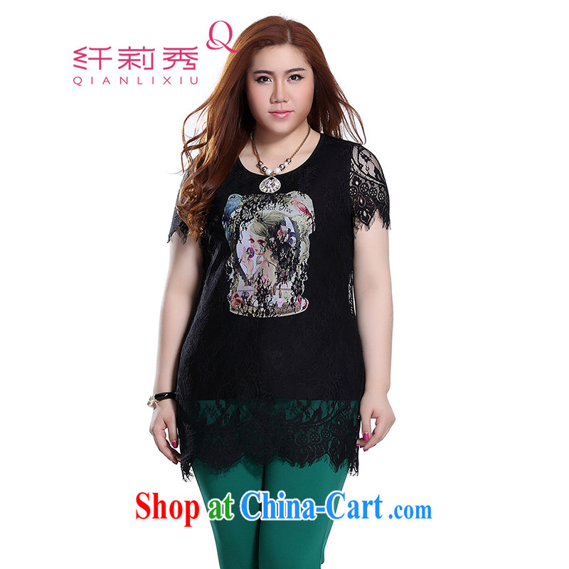 Slim LI Sau 2015 summer new, larger female simple round-collar girls ironing the fine lace cover leave of two parts, long lace shirt Q 7868 black 3 XL