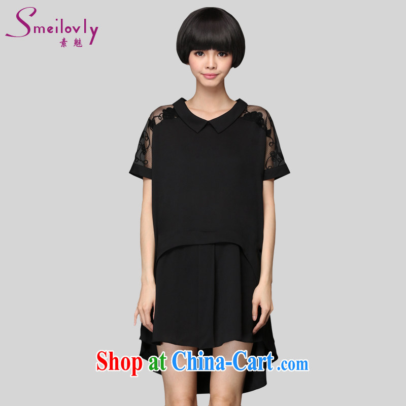 Director of summer 2015 with new 200 jack and indeed increase Code women mm thick short-sleeved lace stitching snow woven dresses 2912 fall in love with the template Black Large Number 4 XL 180 Jack left and right