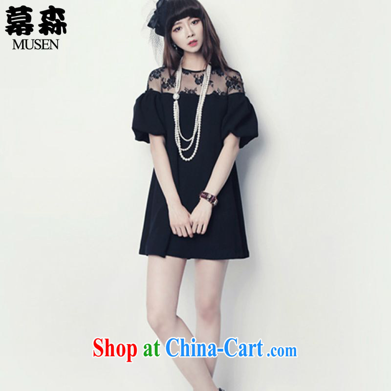 The sum 2015 Summer in Europe and America, the female Summer Language empty sexy lace stitching short-sleeved round neck dress 200 jack to wear black XXXL