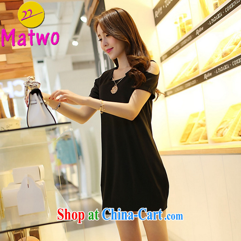 Matwo mm thick summer is indeed the greater code female Korean version of the new graphics thin beauty thick sister dresses 802 Black Large Number 2 XL