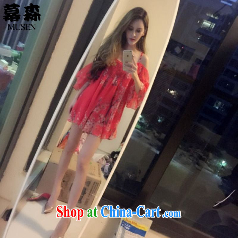 The sum 2015 summer Korean sexy bare shoulders thick mm video thin dresses larger debris Flower Snow woven strap skirt video thin 200 jack can be seen wearing a red XXXL