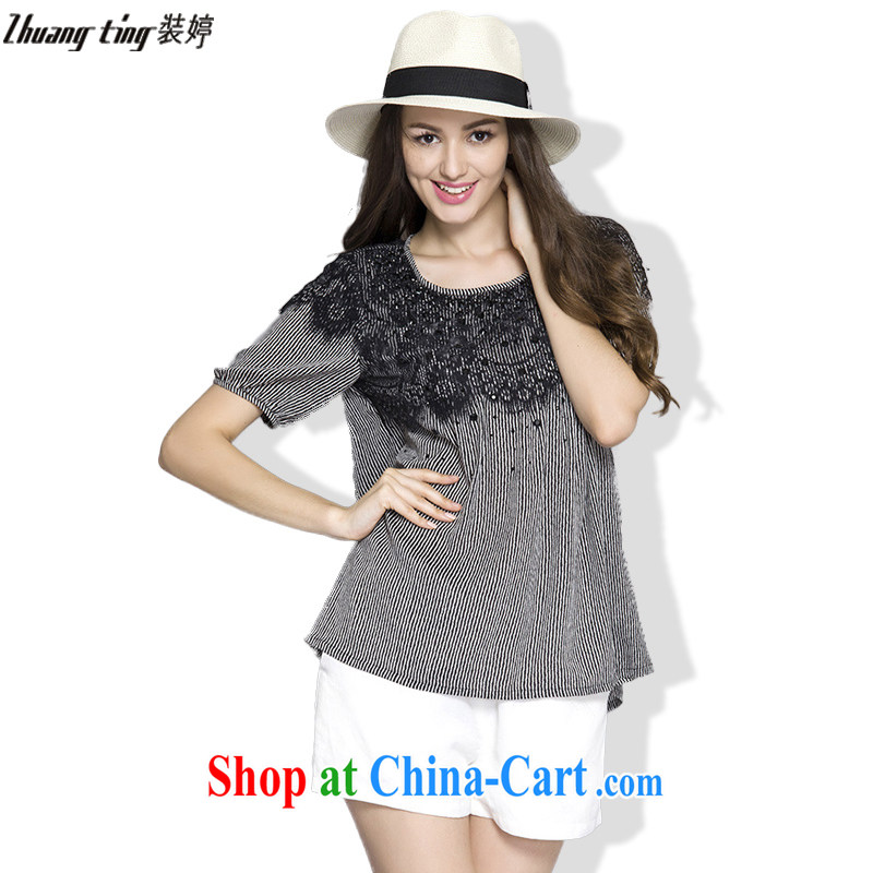 The Ting zhuangting summer 2015 new Europe and North America, the girl is simple and indeed intensify 5 xlT shirt + shorts Kit 1025 photo color 5 XL