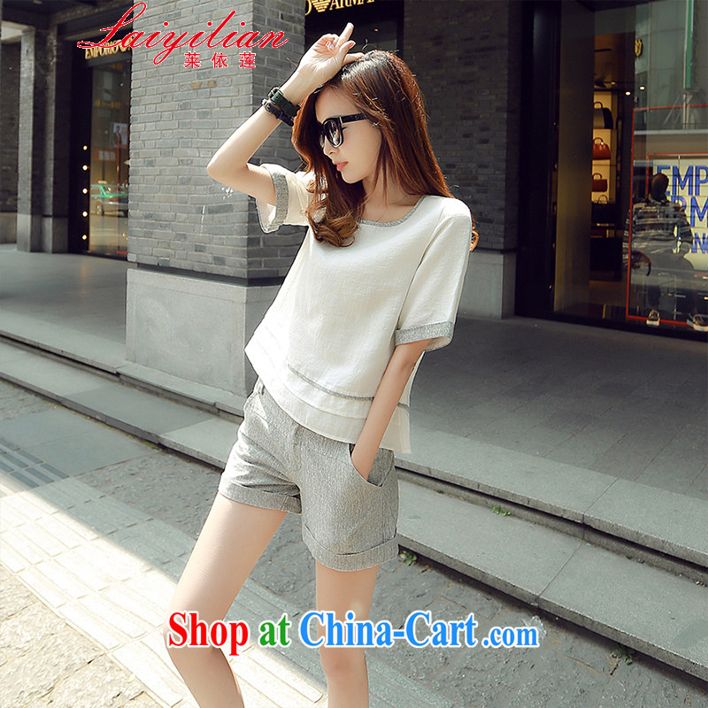 In Hualien's European site 2015 summer two-piece stitching linen short-sleeve shirt T 3 shorts, cotton the package m White L