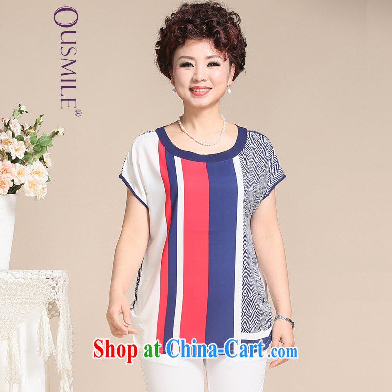 Ousmile summer 2015 new, old mother with stylish stitching knocked color round-collar short-sleeve girls loose T pension larger L 631 red 3XL