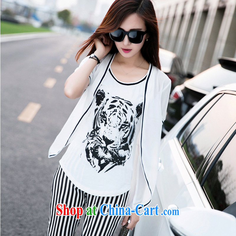 Summer 2015 new sport and leisure package female short-sleeve thick sister large, stylish stamp 3-Piece sweater girl thick mm female stylish lounge snow woven package white XXXXL
