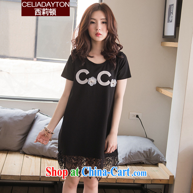 Ms. Cecilia Clinton's 2015 new summer is the XL thick sister female thick mm fashion, long lace stitching T-shirts female short-sleeved loose cotton dress black XXXL