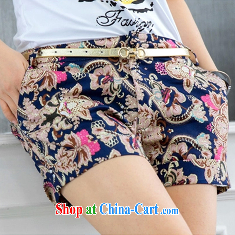The XL girls thick mm summer 2015 new the obese sister graphics thin stretch short pants leisure 100 cultivating ground stamp hot pants stitching thick mm Map Color 6 XL