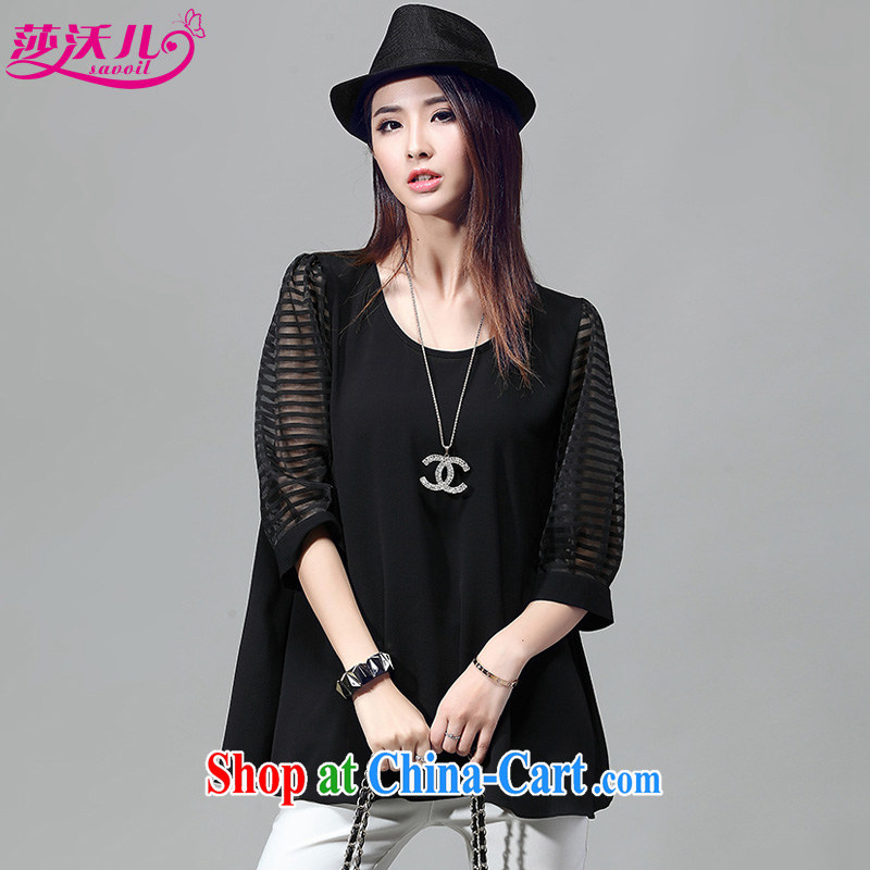 Elizabeth's Kosovo savoil Korea and indeed XL female summer stretch Web yarn jacquard stitching the code loose T shirt T-shirt T 5013 black 4XL