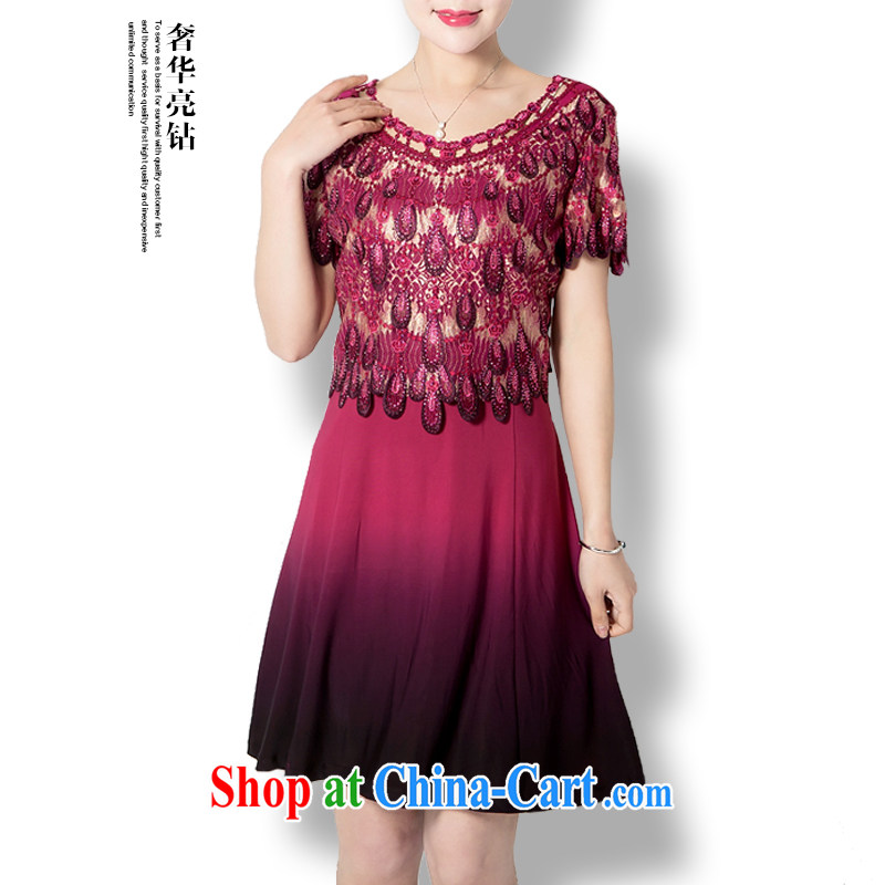 Summer 2015 exclusive women's clothing dresses larger summer, older women wedding wedding mom with short-sleeve dress lace inserts drill dresses gradient XXL