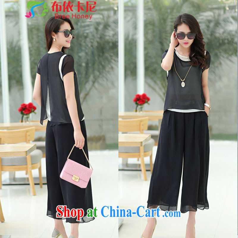 In the summer, new stylish lady with high quality mulberry Silk is silk sweater small shirt has been and Trouser Press 9 pants two-part kit XL package mail 1072 black L