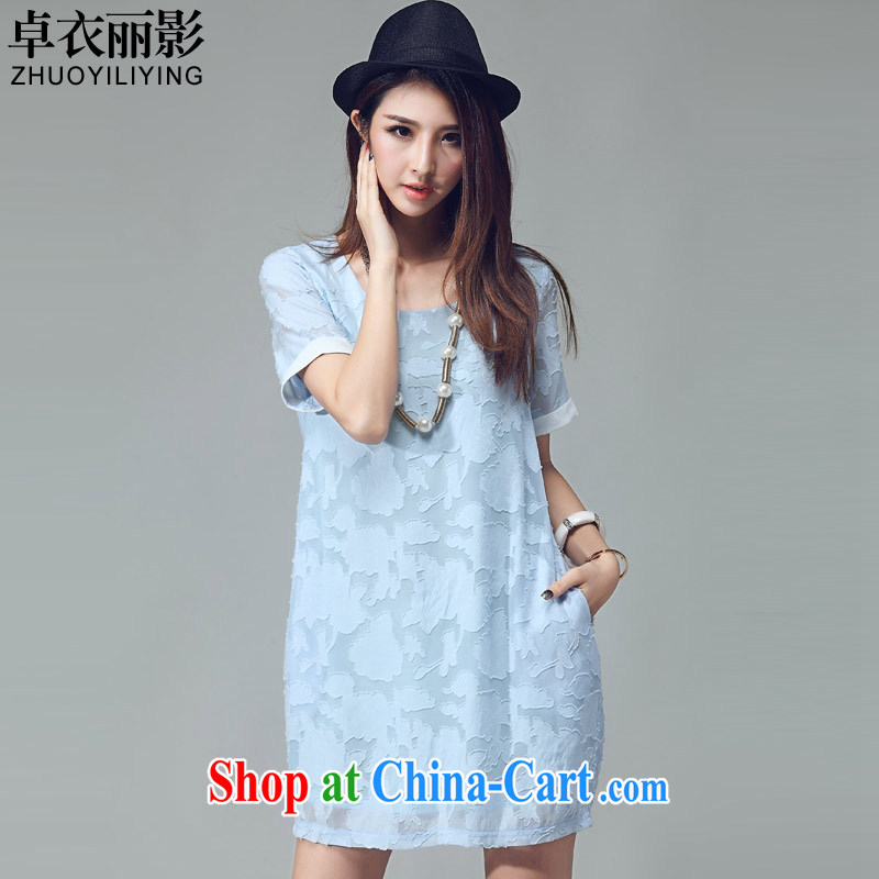 Mr Cheuk Yi Lai film 2015 summer new stylish small new definition Peony jacquard solid color simple code female thick MM short-sleeved dresses 2031 light blue XL