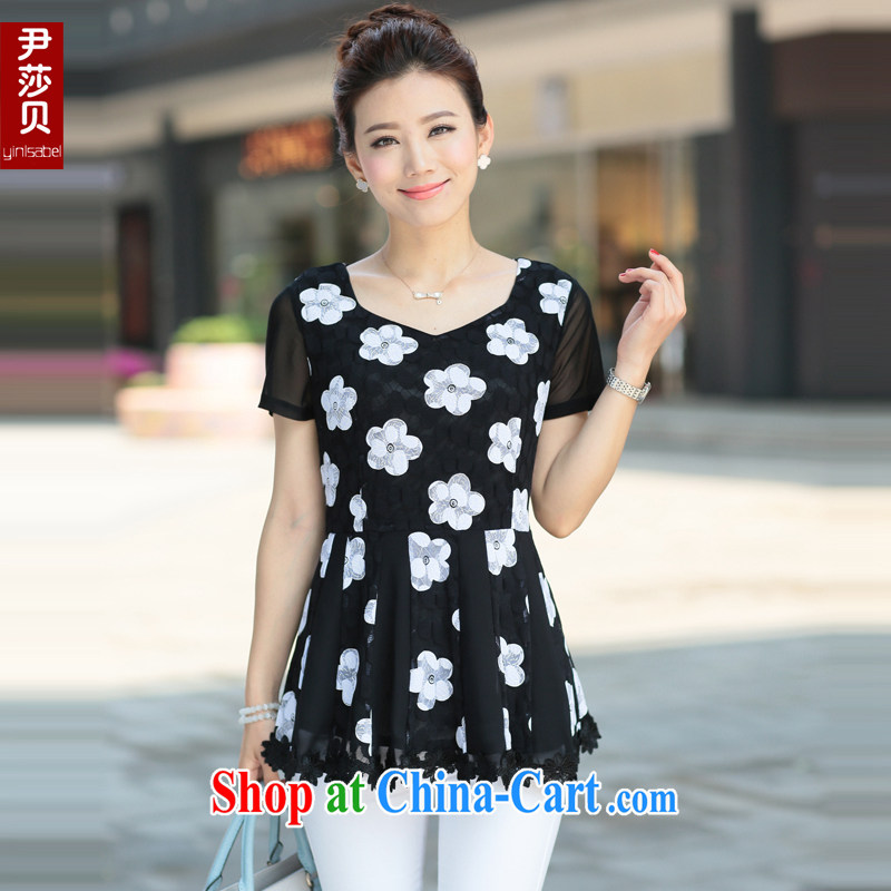 Yoon Elizabeth Odio Benito summer new, larger female Korean Beauty graphics thin thick mm lace short-sleeve female T shirts loose solid black T-shirt with flowers 5 XL recommendations 180 Jack above