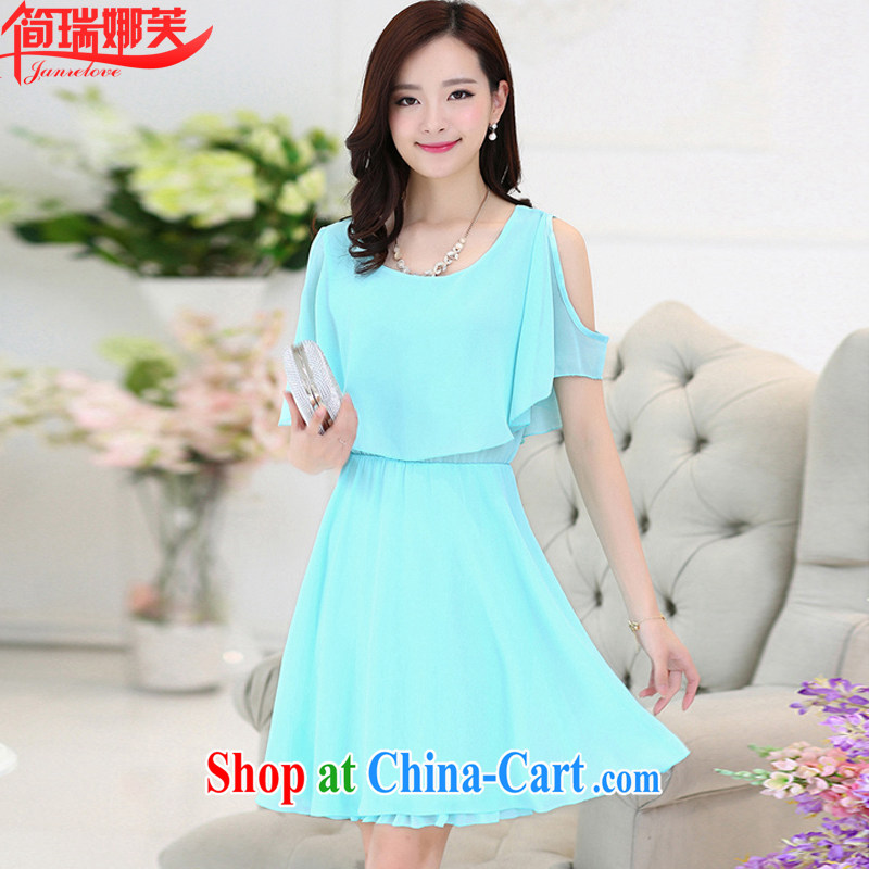 In short, people would be won by 2015 summer edition new style women's clothing thick MM larger graphics thin short-sleeved snow woven dresses women 8109 light blue 3 XL