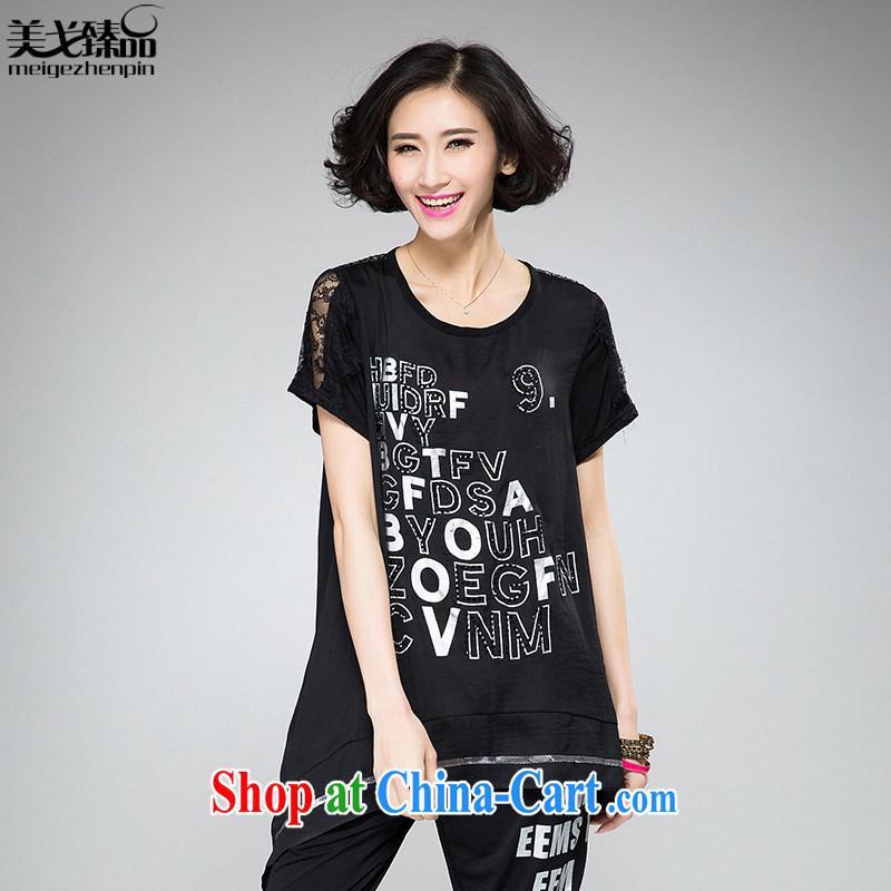 The Gore level, summer 2015 new Korean version 200 Jack the Code women mm thick loose video thin T-shirt black 4XL