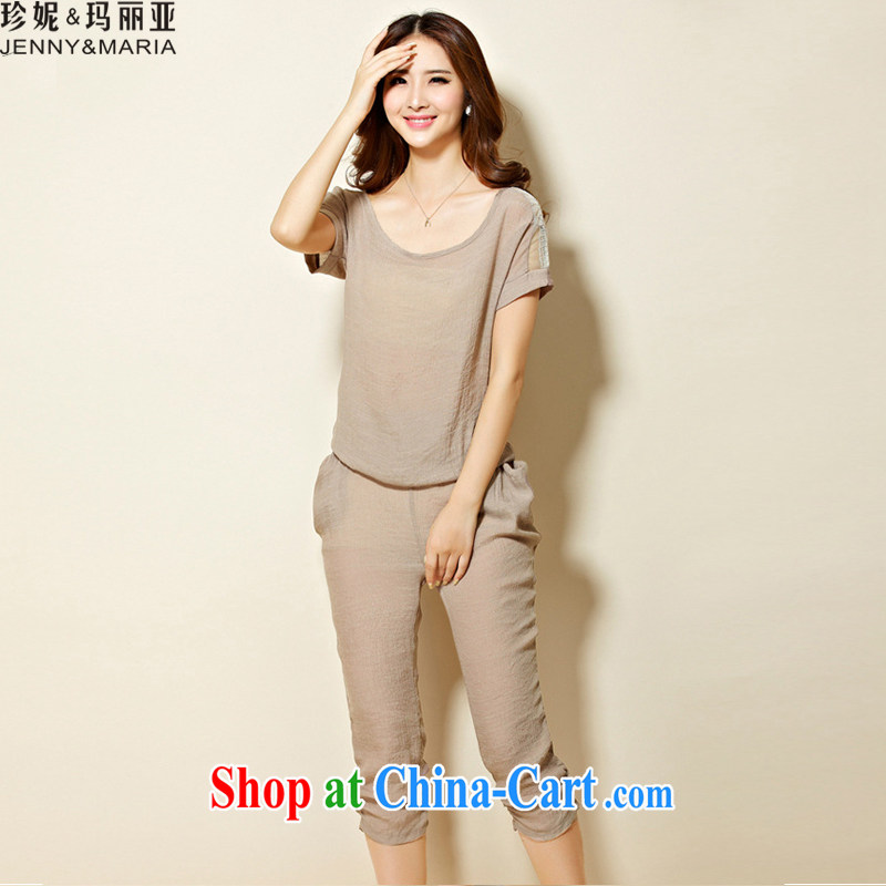 Jeanne _ Mary 2015 summer the Code women stylish cotton Ma snow woven shirts T-shirts, trousers two piece set with 1156 brown 4 XL