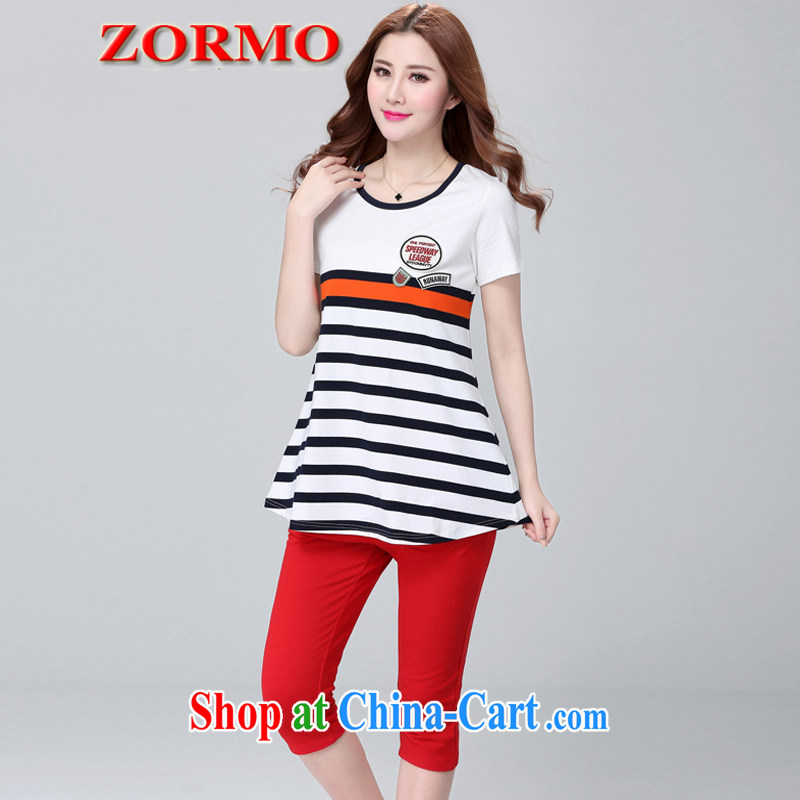 The ZORMO Code women summer mm thick and fat XL Leisure package stripes short-sleeved T shirt + 7 pants sportswear red 4 XL