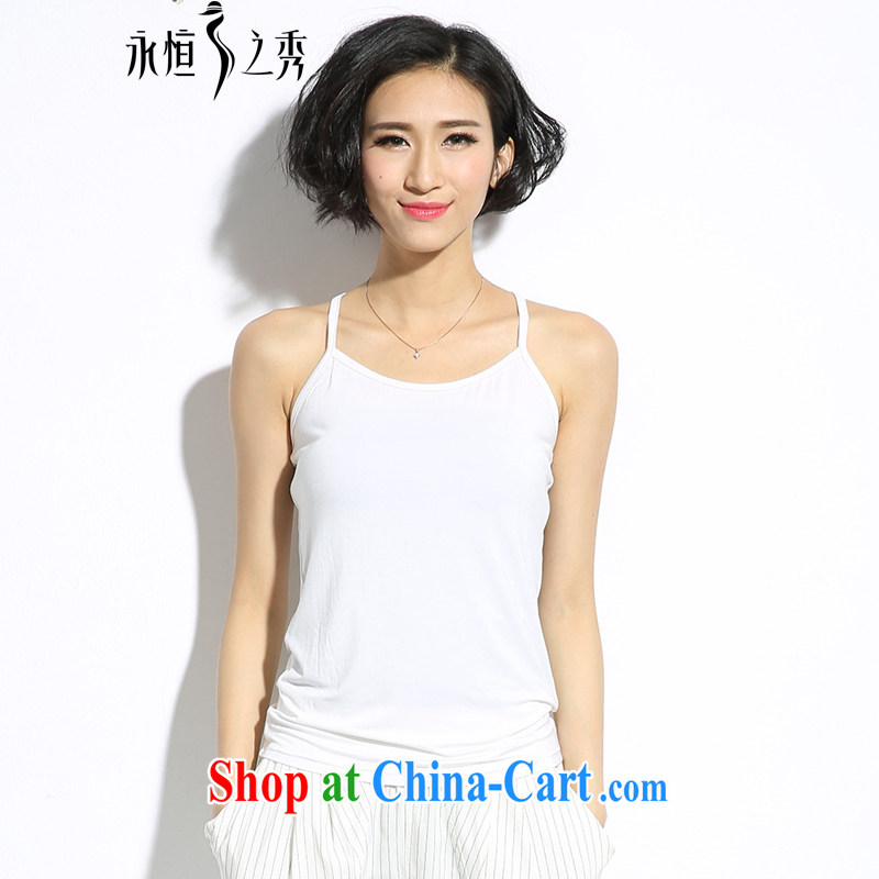 Eternal show the code women strap with small vest 2015 summer new thick mm video thin 100 ground in short, cotton short, comfortable, breathable solid shirt vest white 2 XL