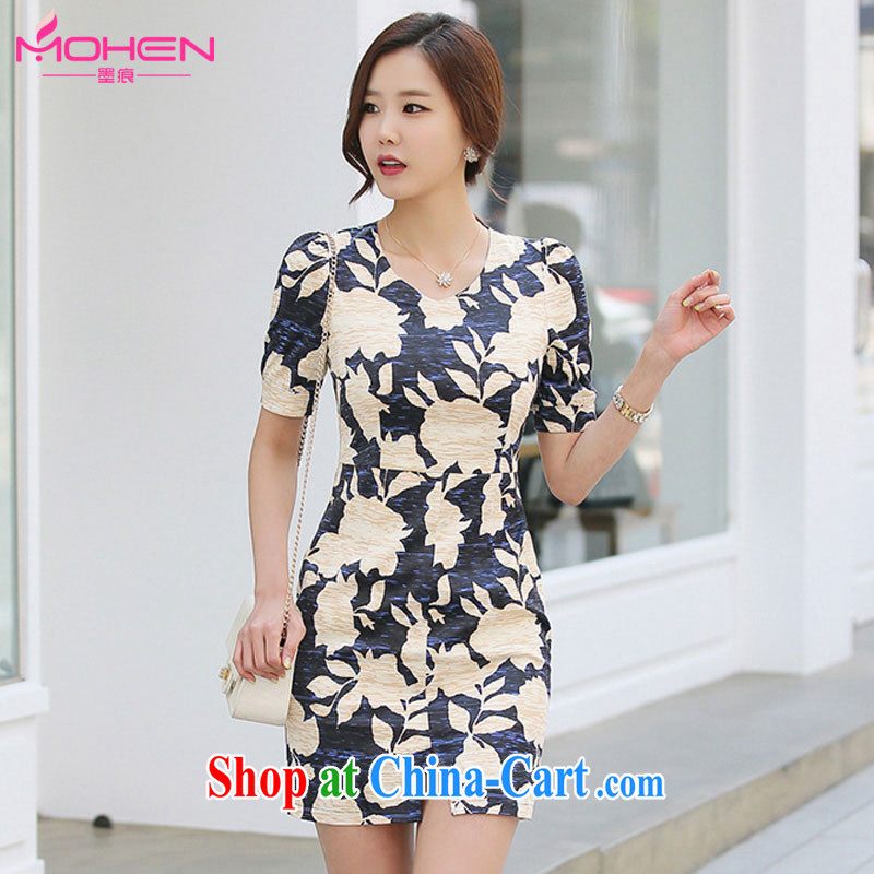 The ink marks 2015 summer Korean female new style stamp V collar package and further skirt stylish career OL commuter dress the color 2 XL (recommendation 135 - 150 jack)