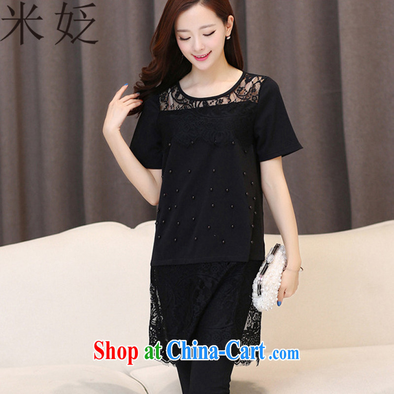 M ? 2015 summer new, larger female 100 ground loose lace spell series dress 2195 black XXL