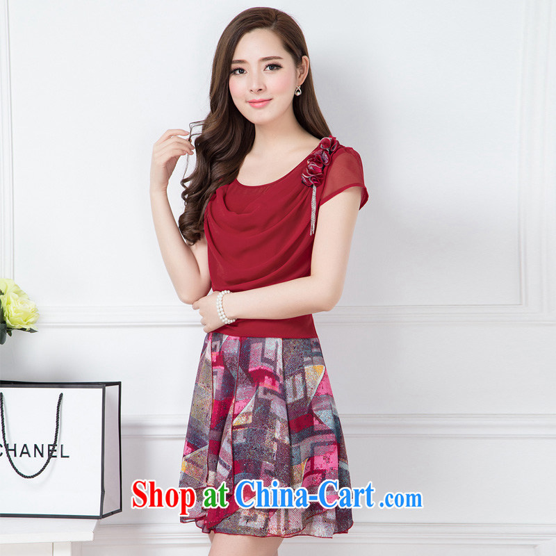 Ex-gratia benefit friends 2015 summer new Korean Beauty larger OL name Yuan temperament female short-sleeved leave two snow-woven dresses Kit skirt red XXXXL
