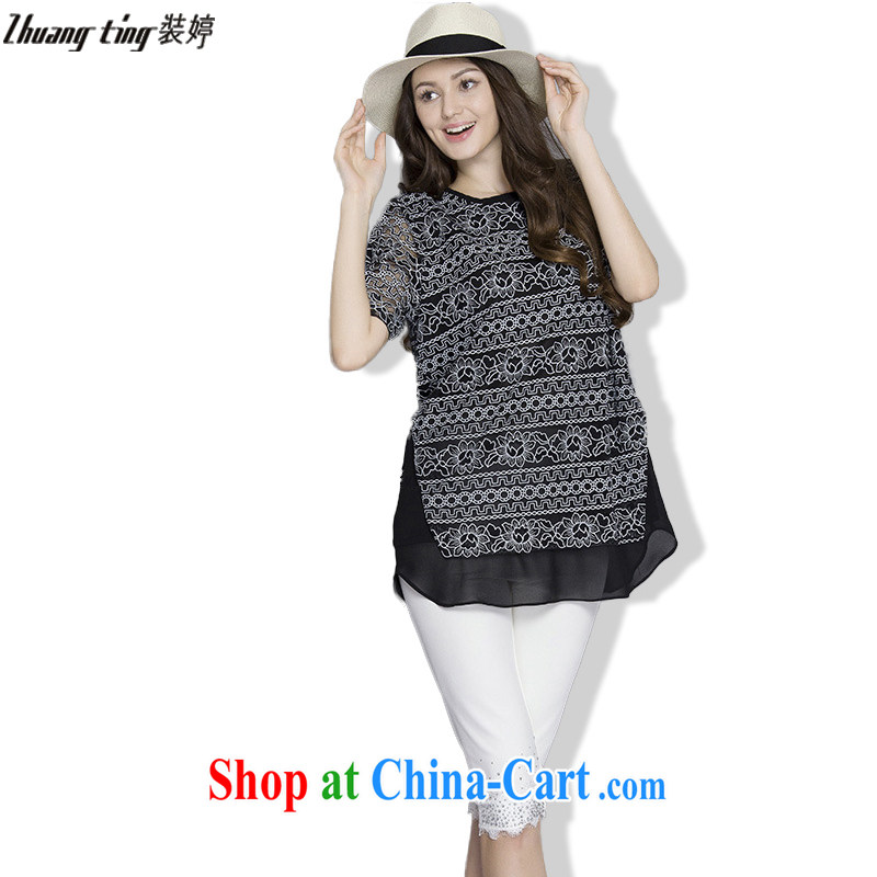 The Ting zhuangting fat people graphics thin summer 2015 the Code women in Europe and America with the obese sister short sleeve 5XL snow spinning Netherlands 1033 black 5 XL