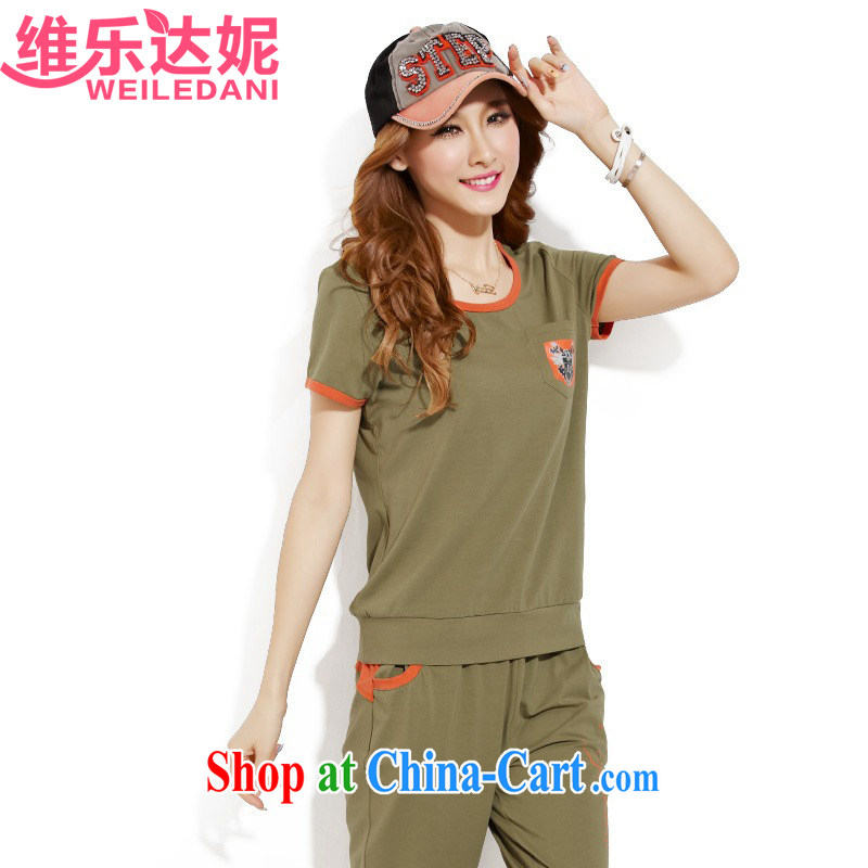 The Music of her 2015 summer new campaign kit female summer cotton uniforms girls package the code short-sleeve female 7 pants two-piece, leisure package olive XL