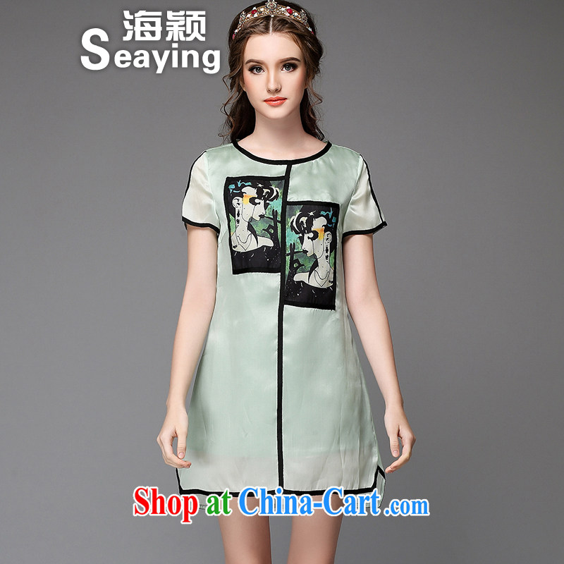 Hai Ying summer 2015 new Europe thick sister package the code female suits stamp loose A field emulation, dresses A 711 green XL _the Code_