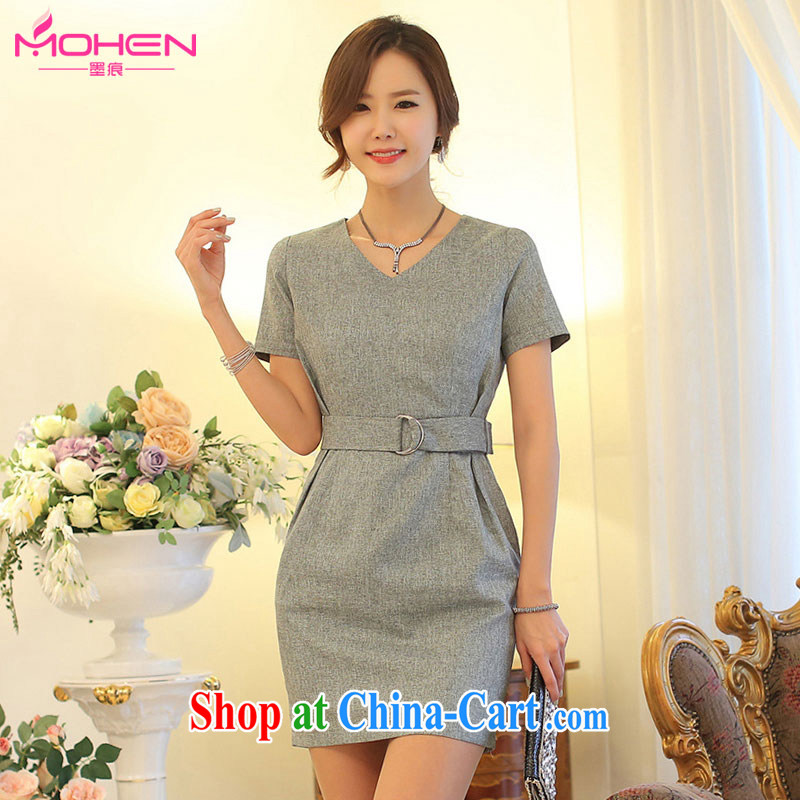 The ink marks 2015 summer new Korean girls and stylish V collar short-sleeve package and dresses further than cultivating graphics thin white-collar occupations women 7647 OL gray 2 XL (recommendations 135 - 150 jack)