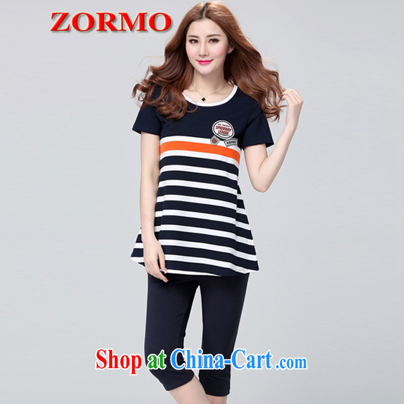 ZORMO Korean women mm thick and fat increases, sport and leisure package stripes short-sleeved shirt T female + 7 pants 2 piece royal blue 4 XL