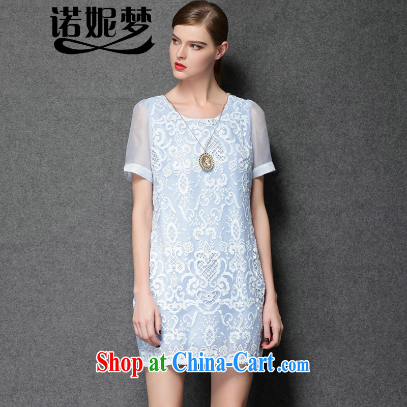 Connie's dream 2015 summer new Europe the Code women mm thick stylish yarn Web lace language spend an elegant short-sleeved dresses Y 3389 light blue XXXXL