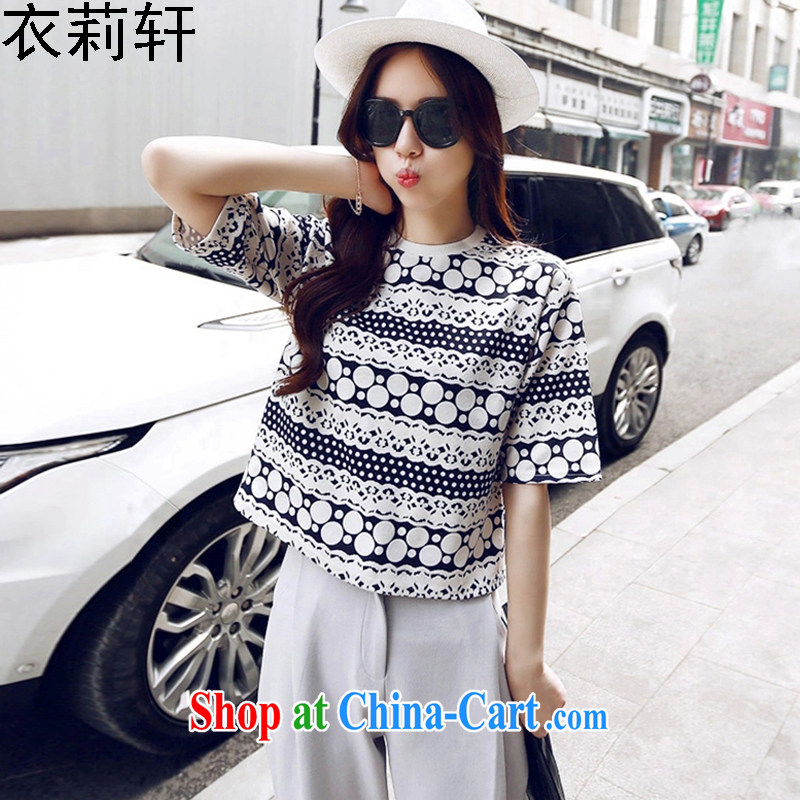 Yi Li Xuan 2015 spring and summer new stylish package short T-shirt half sleeve shirt casual pants two-piece picture color XL