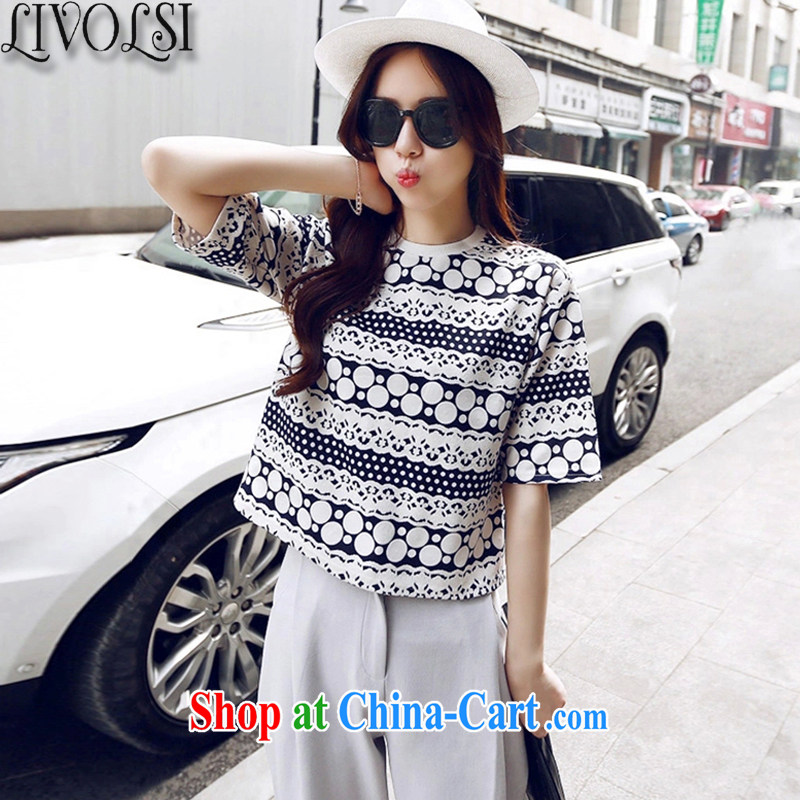 Livolsi 2015 spring and summer new stylish package short T-shirt half sleeve shirt casual pants two-piece picture color XL
