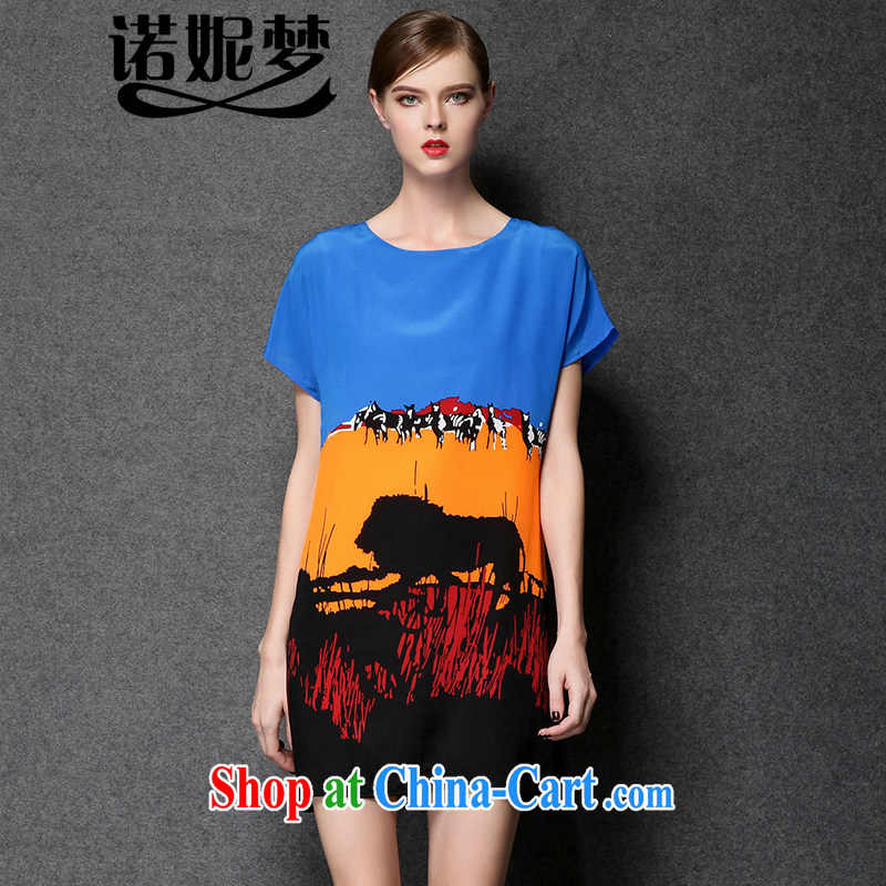 Connie's dream summer 2015 New Europe, larger female thick mm stylish stamp graphics thin strap dress Y 3391 blue XXXL
