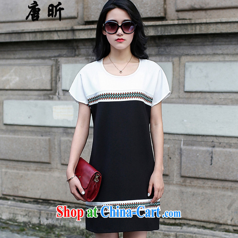 Tang year women dresses summer maximum code female short-sleeved, long skirt loose video thin stitching black and white_1765 2 XL 135 - 145 Jack left and right