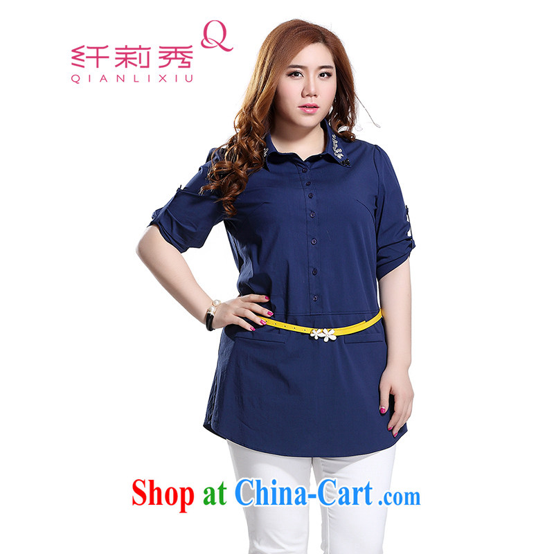 Slim LI Sau 2015 summer new larger female lapel pin manually inserts Pearl drill ground 100 Korean-pixel color-lounge shirt shirt Q 8525 Tibetan blue 5XL