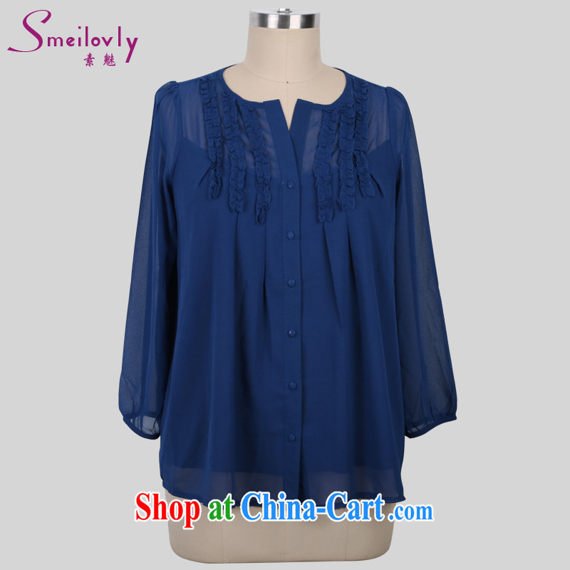 Director of summer 2015 with new XL female thick MM loose video thin solid ice woven shirts 926 fall in love with a template large blue code XXL
