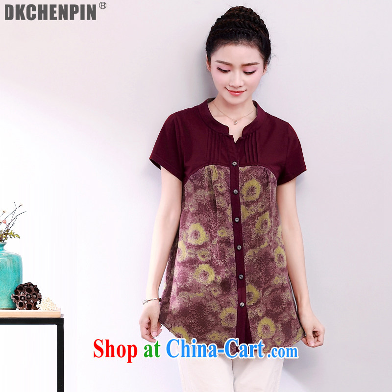 China DKchenpin winds, women with her mother, older women summer short sleeve loose shirt middle-aged women, T-shirt wine red 3 XL