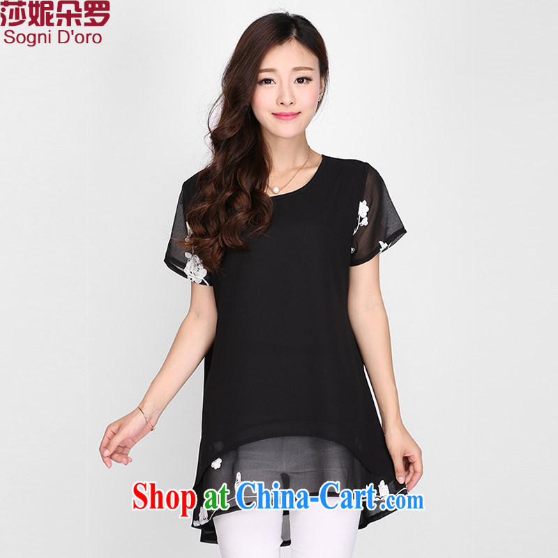 Laurie flower, the Code women T shirts girls loose 2015 new thick mm Summer Snow woven shirts 2120 black 6 XL