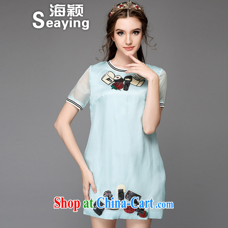 Hai Ying summer 2015 new Europe and the wind code female candy-colored short-sleeved fun high-light film A Field emulation, thick sister dresses A 710 blue 5 XL _the Code_